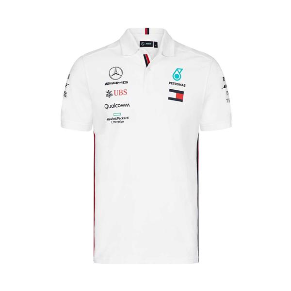 Mercedes AMG Petronas Motorsport F1 Team Mens Polo Shirt White