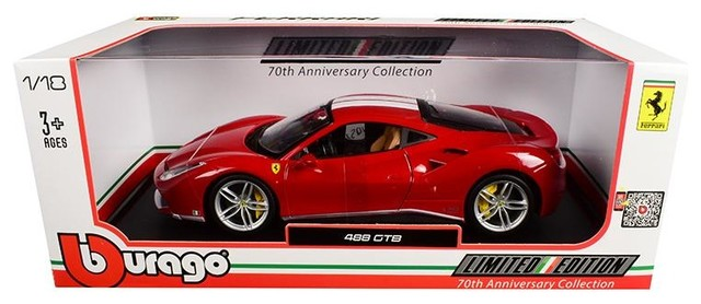 Ferrari 488 GTB with Stripes 70th Anniversary 1:18 Diecast Model Car by Bburago