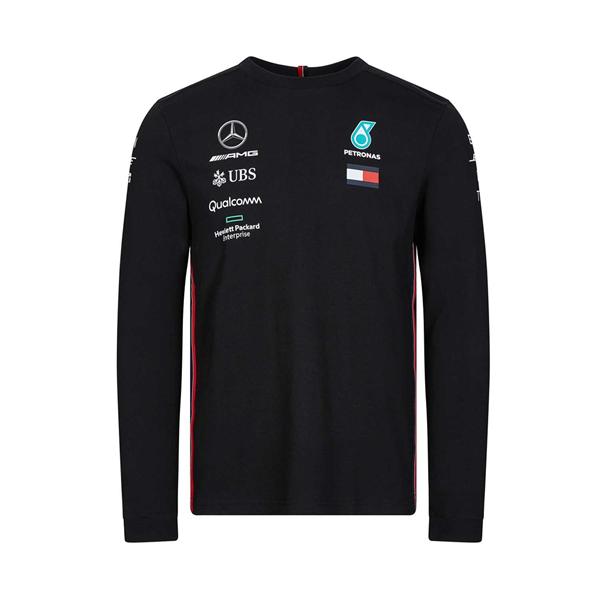 Tímové tričko s dlhým rukávom Mercedes AMG Petronas čierne