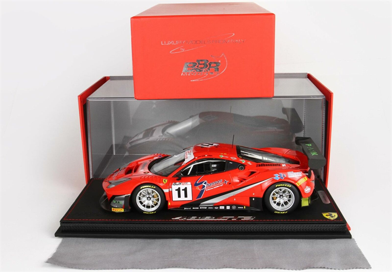 BBR-MODELS - FERRARI - 488 GT3 TEAM KESSEL RACING N 11 12h GULF 2018 A.PIERGUIDI - D.RIGON - M.BRONISZEWSKI - CON VETRINA - WITH SHOWCASE
