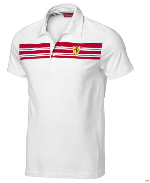 Polo Mens Striped Scuderia Ferrari