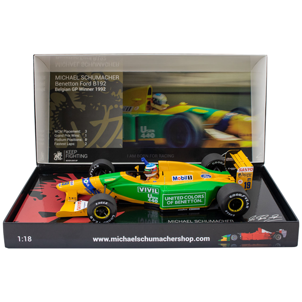 MINICHAMPS MODEL Michael Schumacher Benetton Ford B192 Belgian GP Winner 1992 1:18