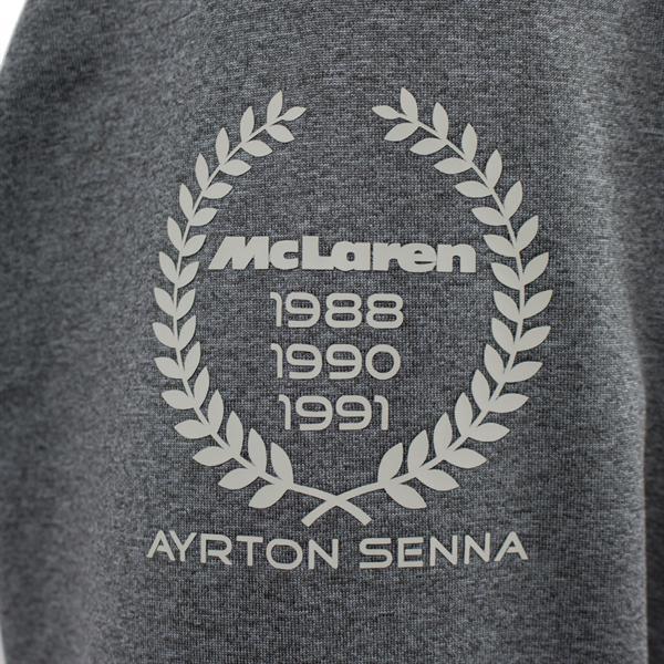 Ayrton Senna Pullover McLaren 3 Times World Champion Šedý