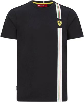 Tričko Scuderia Ferrari s taliansku trikolórou Čierne