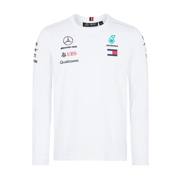 Tímové tričko s dlhým rukávom Mercedes AMG Petronas biele